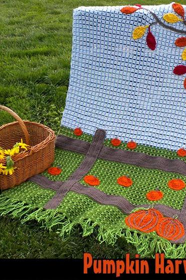 Pumpkin Harvest Afghan Crochet Pattern