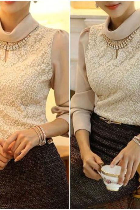 Elegant Beige Long Sleeve Lace Top