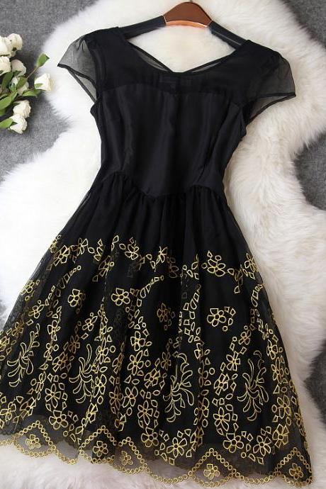Vintage embroidery organza dress MG818EE