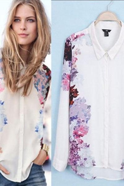 New Autumn Summer Women Long Sleeve Shirts Top Quality Chiffon Blouse Flower Printed Turn Down Collar Shirt Tops S M L
