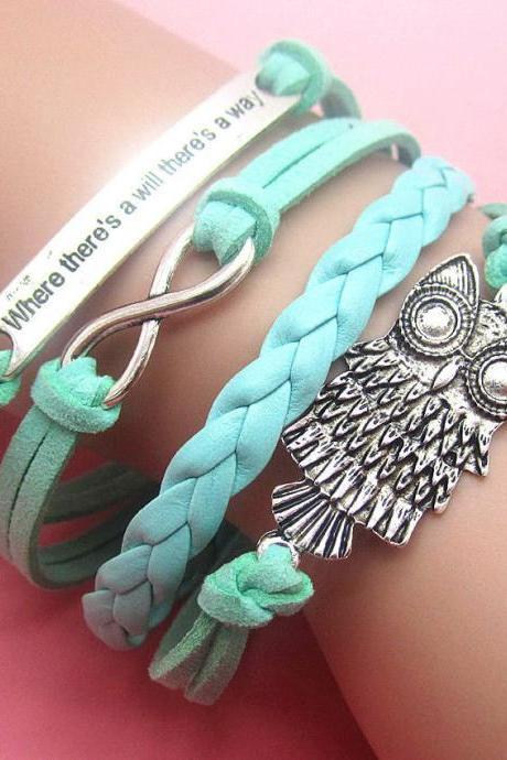 Free shipping Blue DIY Hot Infinity Owl Leather Cute Charm Bracelet Bronze Silver