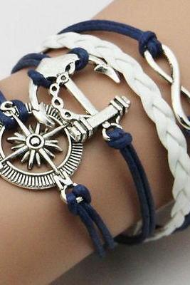 Free shipping Fashion Hot Infinity Love Anchor Leather Cute Charm Bracelet plated Silver DIY