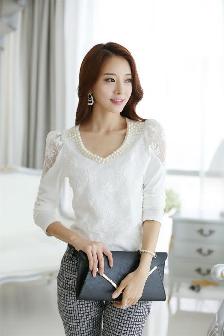 Beautiful Pearl Beaded White Long Sleeve Lace Blouse