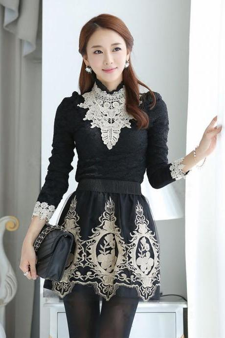 Gorgeous Long Sleeve black Lace Blouse