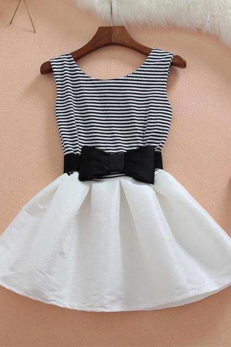 STRIPED SHORT-SLEEVED DRESS STITCHING J707HH