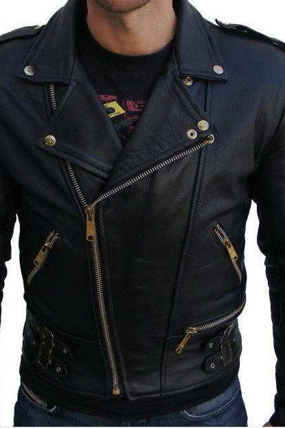 MEN BLACK COLOR BIKER LEATHER JACKET, MOTORBIKE LEATHER JACKET