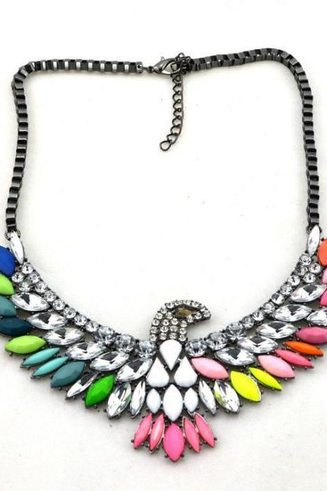 *FREE SHIPPING* High Quality Women Luxury Costume Fashion Chunky Necklaces & Pendants Chokers Crystal birds Gorgeous Statement jewelry