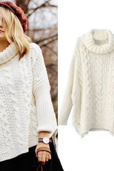 Autumn New Fashion Sweaters Women Casual White Long Sleeve Turtleneck Chunky Cable Knit Sweater
