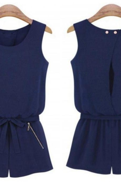 *FREE SHIPPING* Sheinside Navy Sleeveless Backless Bowknot Jumpsuit