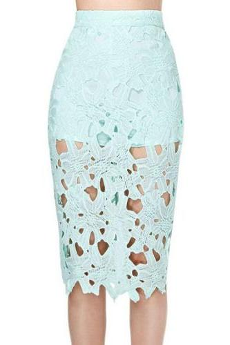 Mint Green Hollow Out Lace Pencil Skirt