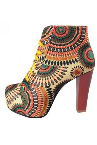 Bohemian Style Printed Lace Up Plus Size Chunky Heel Ankle Boots