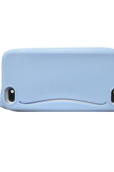*FREE SHIPPING* Cute Big Mouth Whale Rubber Card Holder Soft Case Cover For Apple iPhone 4 4S 5 5S EC115