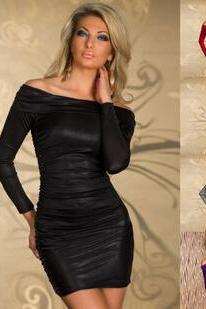 Europe and the United States women's dress sexy shoulder collar dress slim package hip nightclubs.