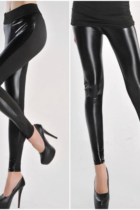 Black Leatherette Leggings