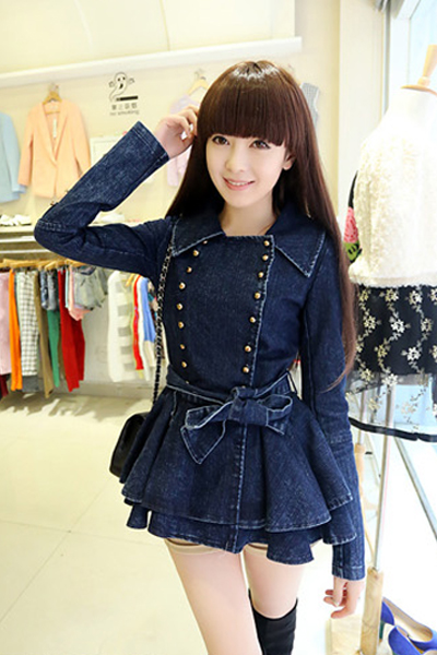 New Style Turndown Collar Long Sleeves Double-breasted Pleated Flouncing Design Blue Cotton Blend Long Coat