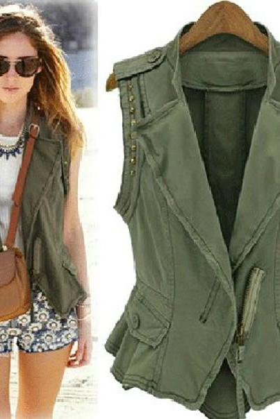 New Style V Neck Zipper Designed Rivets Decorated Navy Green Regular Vest