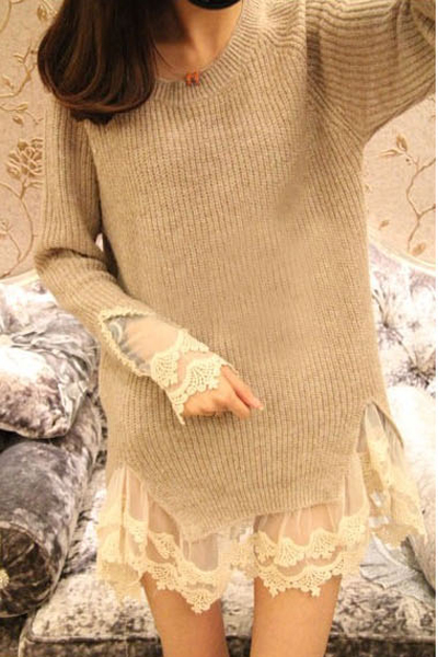 Sweet O neck Long Sleeve Regular Apricot Cotton Pullover Sweater