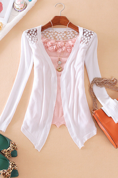 Lovely Hollow-cut Long Sleeves White Kintting Cardigan