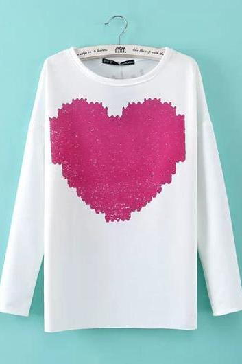 Cute Heart Print long Sleeve T Shirt for Woman