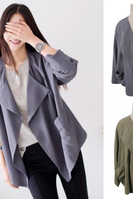 *Free Shipping* Cardigan Jacket Outerwear Outer Grey Green Khaki Autumn Fall Jumper Stylish Office Casual Women Natural Fit Boxy 438732660 비벌스