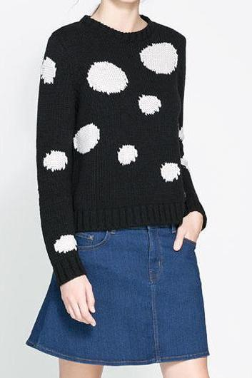 Adorable Dot Print Long Sleeve Knitting Wool Pullovers