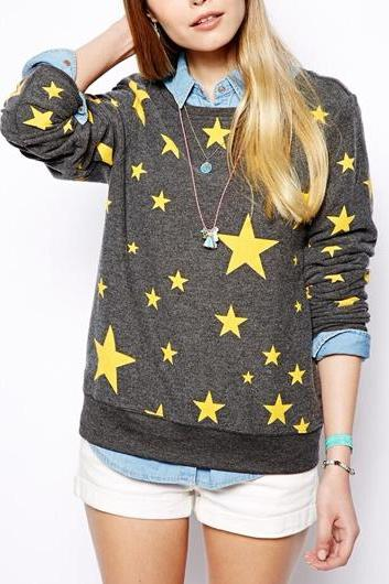 Chic Round Neck Stars Printed Sweats