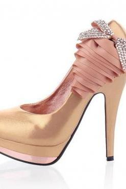 European Round Closed Toe Super Stiletto High Golden PU Basic Party Pumps
