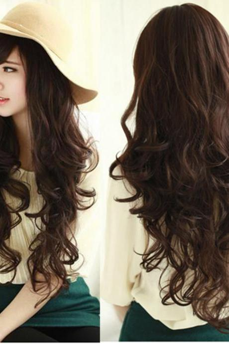 Smile Girl Party Dark Brown Wig Women Deep Wavy Curly Long Hair Full Wigs
