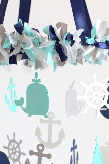 Nautical Nursery Mobile in Navy, Aqua, Gray & White- Baby Mobile, Crib Mobile, Baby Shower Gift