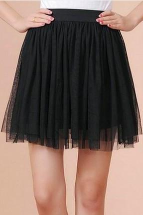 Pleated skirts net veil render high waist skirt