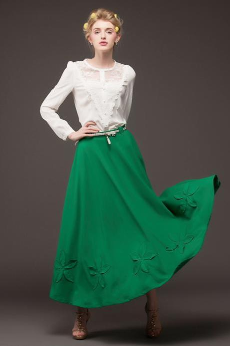 Ball Gown Design Green Embroidered Long Chiffon Skirt with Belt