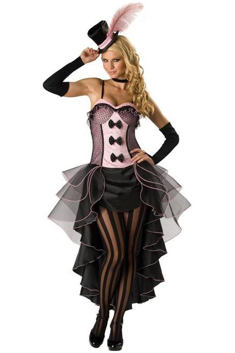Cheap Sexy Multi-layered Drapes Design Bowknots Embellished Black Polyester Fancy Cosplay Costume Dress+Hat+Neckwear+Glo
