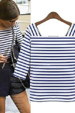 Cheap New Style Square Collar Half Sleeve Blue-white Striped Cotton T-shirt