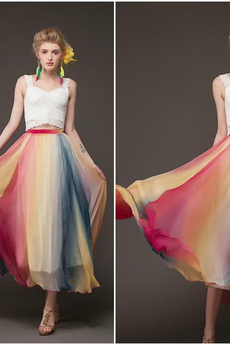 Beautiful Multi Colored High Waist Skirt