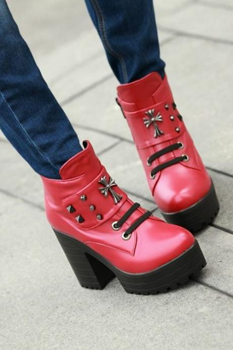 Red Chunky Heel Studded Cross Deign Boots