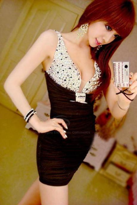 Women's Sexy Bodycon Dress With Plunging Neck Rhinestone Embellished And Ruffled Design