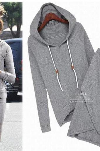 Cotton Sport Suit Casual Sport Set Tracksuits 2pcs/set(Hoodies+Irregular Skirt) Women Clothing Set LSP487HHY
