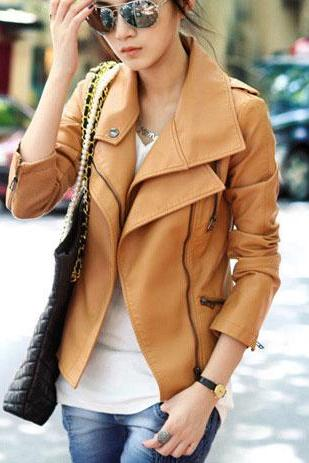 Stylish Slim Fit Cropped Leather Jacket [Grzxy6601285]