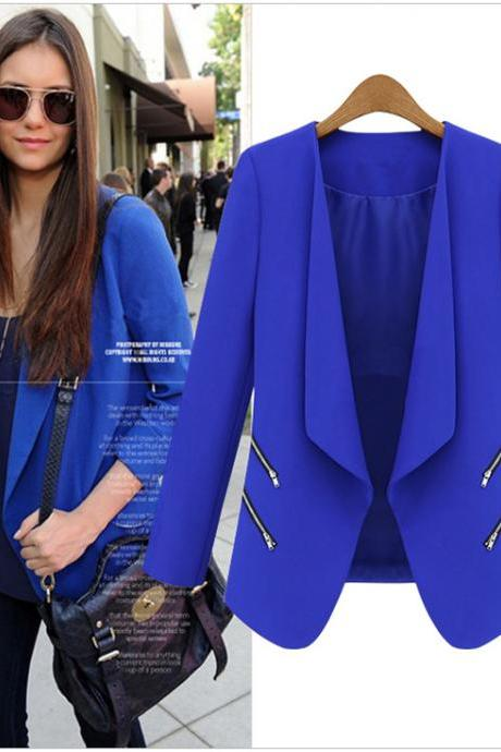 Cheap New Style Long Sleeves Zippered Pockets Design Blue Blazer