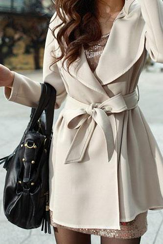 Fashion OL Style Sash Lapel Pure Color Trench Coat