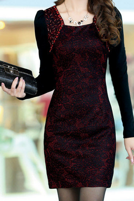 Slim stylish long-sleeved dress AX083108ax