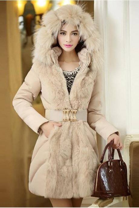 Women's Fur Collar Long Length Outercoat - available in 2 colors (plus sizes M to XXXL)