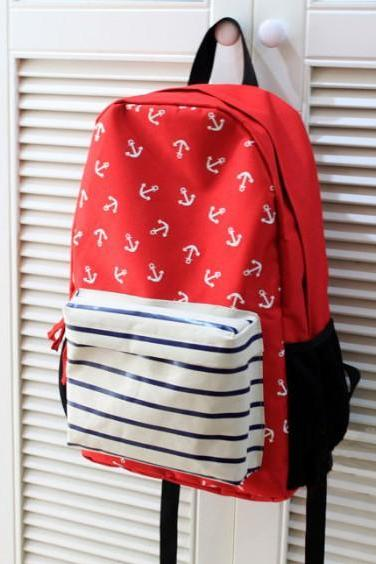 Fashion Red anchor striped backpack