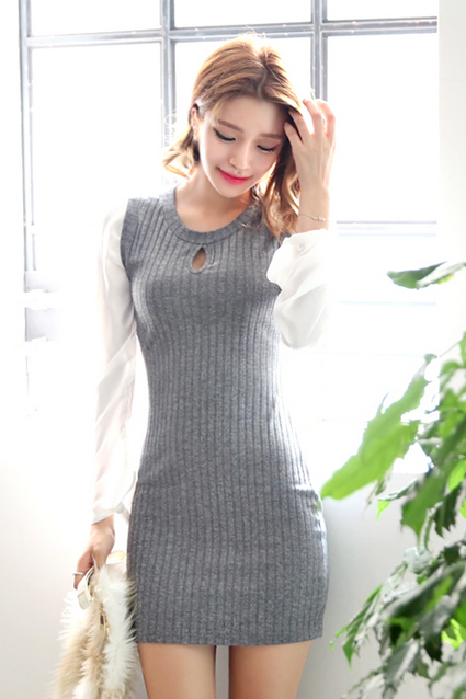 Korean Style Black Red Gray Basic Body con Sweater Dress Slim Fit 477981332