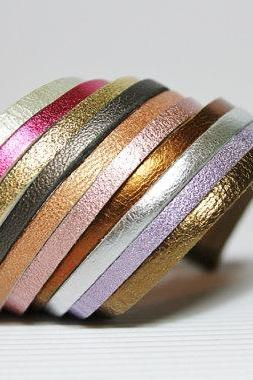 Multi-Colored Metallic Leather Bracelet
