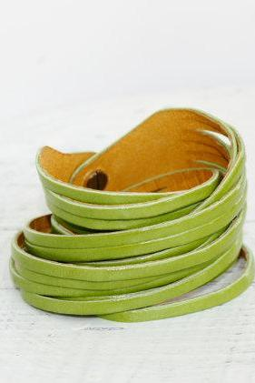 Light Green Genuine Leather Double Wrap Cuff Bracelet