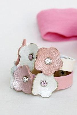 Kids Collection,Two Bracelets Green and Pink Flowers,Genuine Leather ,Swarowski Crystals Bracelet