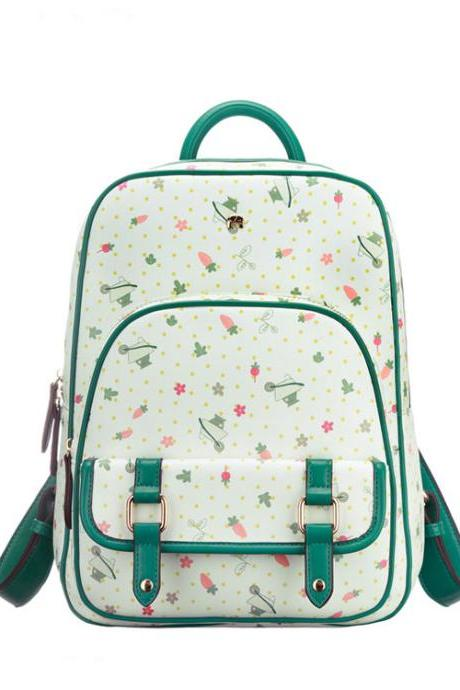 Fresh Green Floral Printed Backpack
