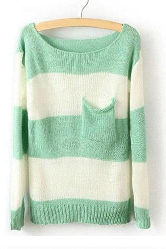 Sexy Green White Striped Pullover Long Sleeve Sweater