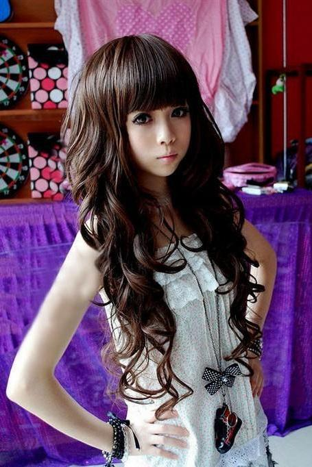 Trendy Style Fashion Long Curly Wave Cosplay Women Girl Hair Full Wig Wigs